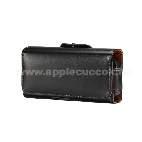 APPLE IPhone 5CUNIVERZÁLIS fekvő tok - övre fűzhető, övcsipesz, mágnes záródás - 130 x 6.6 x 22mm - FEKETE