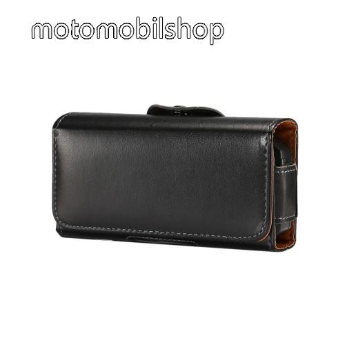 MOTOROLA Moto E Dual SIM (XT1022) UNIVERZÁLIS fekvő tok - övre fűzhető, övcsipesz, mágnes záródás - 130 x 6.6 x 22mm - FEKETE