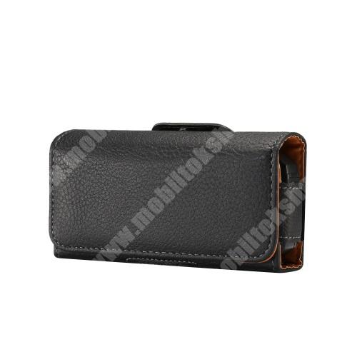 APPLE IPhone 5 UNIVERZÁLIS fekvő tok - övre fűzhető, övcsipesz, mágnes záródás - 130 x 6.6 x 30mm - FEKETE