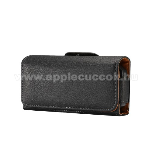 APPLE iPhone SEUNIVERZÁLIS fekvő tok - övre fűzhető, övcsipesz, mágnes záródás - 130 x 66 x 30mm - FEKETE