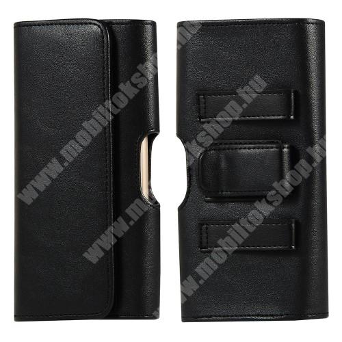 HomTom HT70 UNIVERZÁLIS fekvő tok - PU bőr, mágneses záródás, övre fűzhető, övcsipesz, gumis, bankkártyatartó zseb - 175 x 98 x 22mm - FEKETE