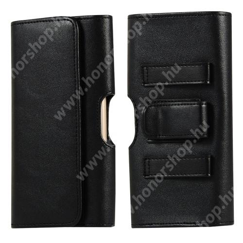 HUAWEI Honor V40 5G UNIVERZÁLIS fekvő tok - PU bőr, mágneses záródás, övre fűzhető, övcsipesz, gumis, bankkártyatartó zseb - 166 x 86 x 20mm - FEKETE