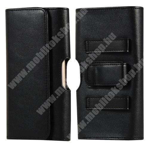 PHILIPS W8510 UNIVERZÁLIS fekvő tok - PU bőr, mágneses záródás, övre fűzhető, övcsipesz, gumis, bankkártyatartó zseb - 156 x 80 x 20mm - FEKETE