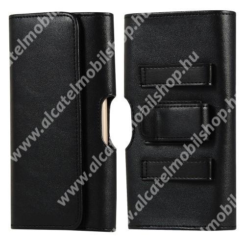 UNIVERZÁLIS fekvő tok - PU bőr, mágneses záródás, övre fűzhető, övcsipesz, gumis, bankkártyatartó zseb - 156 x 80 x 20mm - FEKETE