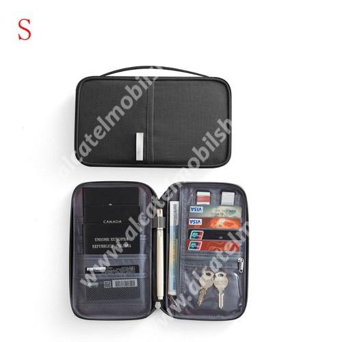 UNIVERZÁLIS fekvő tok / táska - FEKETE - vízálló szövet, hálós zseb, cipzár, hordozható fogantyúval, irattartó, bankkártyatartó, pénztárca, ceruzatartó, 215 x 125 x 20mm