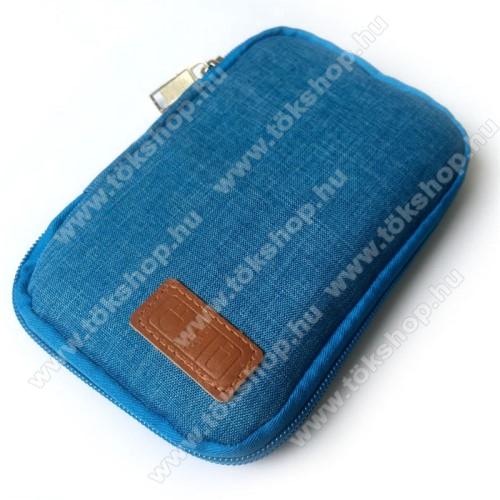Vodafone 236UNIVERZÁLIS fekvő tok / táska - KÉK - cseppálló szövet, 2 különálló hálós zseb, cipzár, gumis hurkok - 170 x 110 x 20mm