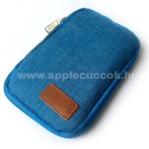 APPLE IPhone 5SUNIVERZÁLIS fekvő tok / táska - KÉK - cseppálló szövet, 2 különálló hálós zseb, cipzár, gumis hurkok - 170 x 110 x 20mm