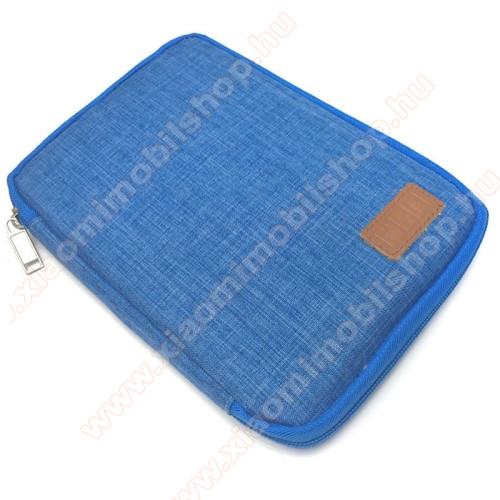 Xiaomi Redmi Note 7UNIVERZÁLIS fekvő tok / táska - KÉK - cseppálló szövet, különálló hálós zsebek, cipzár, gumis hurkok - M-es méret, 210 x 165 x 20mm
