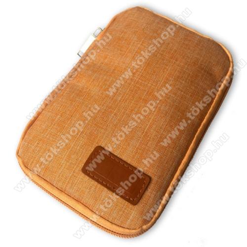 Vodafone VPA Compact IV (HTC Herald)UNIVERZÁLIS fekvő tok / táska - NARANCSSÁRGA - cseppálló szövet, 2 különálló hálós zseb, cipzár, gumis hurkok - 170 x 110 x 20mm