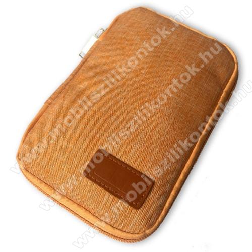 UNIVERZÁLIS fekvő tok / táska - NARANCSSÁRGA - cseppálló szövet, 2 különálló hálós zseb, cipzár, gumis hurkok - 170 x 110 x 20mm