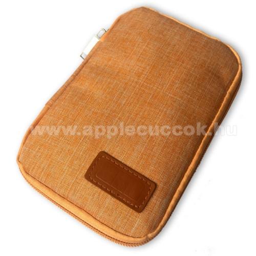 APPLE iPhone 8 PlusUNIVERZÁLIS fekvő tok / táska - NARANCSSÁRGA - cseppálló szövet, 2 különálló hálós zseb, cipzár, gumis hurkok - 170 x 110 x 20mm