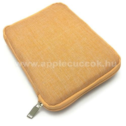 APPLE iPhone 8 PlusUNIVERZÁLIS fekvő tok / táska - NARANCSSÁRGA - cseppálló szövet, különálló hálós zsebek, cipzár, gumis hurkok - M-es méret, 210 x 165 x 20mm
