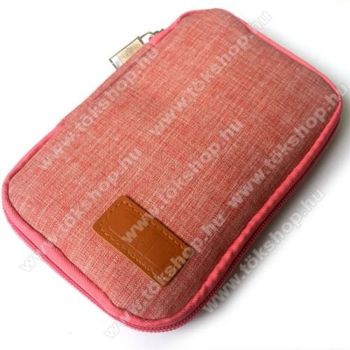 Vodafone VPA Compact IV (HTC Herald)UNIVERZÁLIS fekvő tok / táska - RÓZSASZÍN - cseppálló szövet, 2 különálló hálós zseb, cipzár, gumis hurkok - 170 x 110 x 20mm