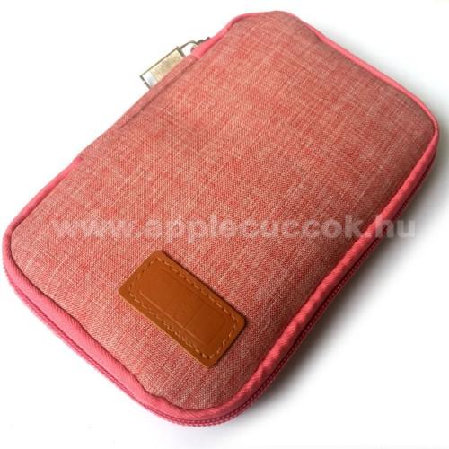 APPLE IPhone 5SUNIVERZÁLIS fekvő tok / táska - RÓZSASZÍN - cseppálló szövet, 2 különálló hálós zseb, cipzár, gumis hurkok - 170 x 110 x 20mm