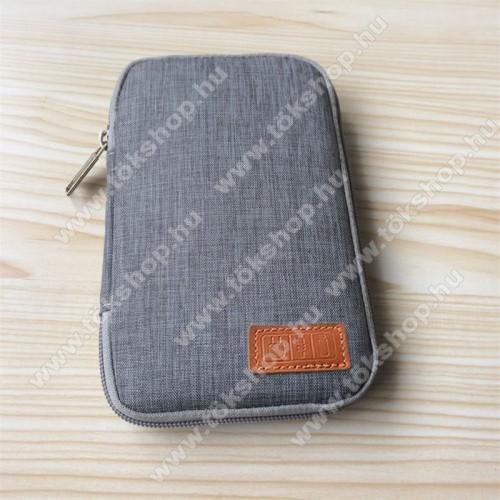 Vodafone VPA Compact IV (HTC Herald)UNIVERZÁLIS fekvő tok / táska - SZÜRKE - cseppálló szövet, 2 különálló hálós zseb, cipzár, gumis hurkok - 170 x 110 x 20mm