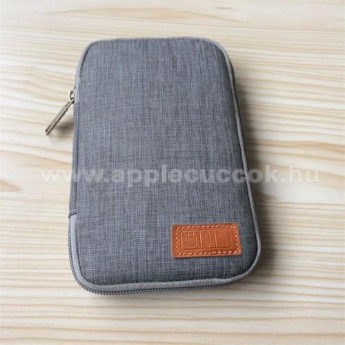 APPLE IPhone 5SUNIVERZÁLIS fekvő tok / táska - SZÜRKE - cseppálló szövet, 2 különálló hálós zseb, cipzár, gumis hurkok - 170 x 110 x 20mm