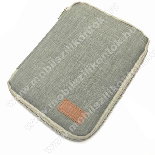 UNIVERZÁLIS fekvő tok / táska - SZÜRKE - cseppálló szövet, különálló hálós zsebek, cipzár, gumis hurkok - M-es méret, 210 x 165 x 20mm