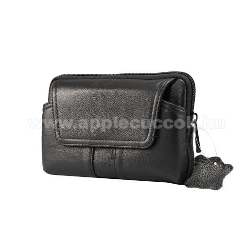 APPLE iPhone XS MaxUNIVERZÁLIS fekvő tok - valódi bőr, övre fűzhető, övcsipesz, mágneses patent, cipzár - 160 x 100 x 20mm - FEKETE