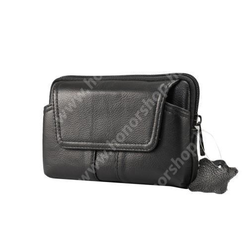 HUAWEI Honor 8 Premium UNIVERZÁLIS fekvő tok - valódi bőr, övre fűzhető, övcsipesz, mágneses patent, cipzár - 155 x 95 x 20mm - FEKETE