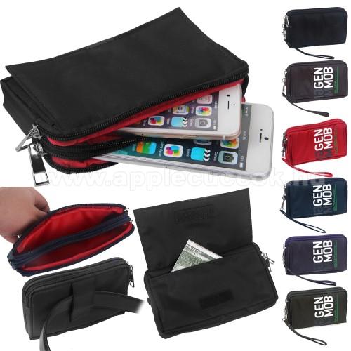 APPLE iPhone XS MaxUNIVERZÁLIS fekvő tok - zipzár, tépőzár, szövet, övre fűzhető, 3 különálló zsebbel - FEKETE - 155 x 90 x 10 mm