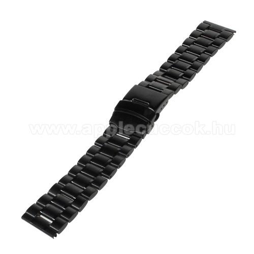 UNIVERZÁLIS fém okosóra szíj - FEKETE - 175 x 22mm széles - Samsung Gear 2 R380 / Samsung Gear 2 Neo R381 / LG G Watch W100 / LG G Watch R W110 / Asus Zenwatch