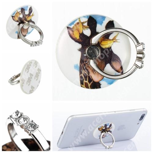 ACER Iconia Tab A200 UNIVERZÁLIS fém ujjtámasz, gyűrű tartó - Biztos fogás készülékéhez, strasszkővel díszített - ZSIRÁF MINTÁS