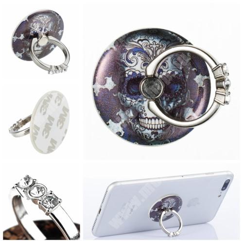 PHILIPS W3568 UNIVERZÁLIS fém ujjtámasz, gyűrű tartó - Biztos fogás készülékéhez, strasszkővel díszített - KOPONYA MINTÁS