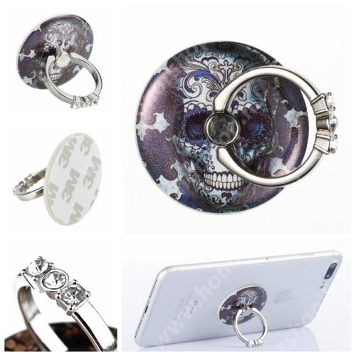 HUAWEI Honor V40 5G UNIVERZÁLIS fém ujjtámasz, gyűrű tartó - Biztos fogás készülékéhez, strasszkővel díszített - KOPONYA MINTÁS