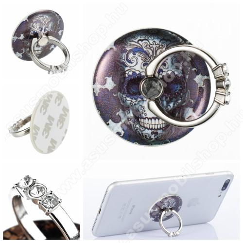 ASUS Memo Pad 7 ME572CUNIVERZÁLIS fém ujjtámasz, gyűrű tartó - Biztos fogás készülékéhez, strasszkővel díszített - KOPONYA MINTÁS