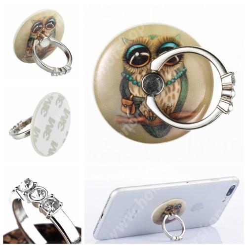 HUAWEI Honor V40 5G UNIVERZÁLIS fém ujjtámasz, gyűrű tartó - Biztos fogás készülékéhez, strasszkővel díszített - BAGOLY MINTÁS