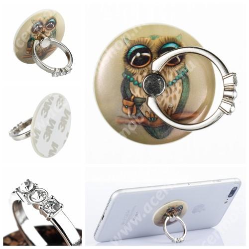 ACER Iconia Tab A200 UNIVERZÁLIS fém ujjtámasz, gyűrű tartó - Biztos fogás készülékéhez, strasszkővel díszített - BAGOLY MINTÁS
