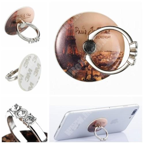 PHILIPS W3568 UNIVERZÁLIS fém ujjtámasz, gyűrű tartó - Biztos fogás készülékéhez, strasszkővel díszített - EIFFEL TORONY MINTÁS