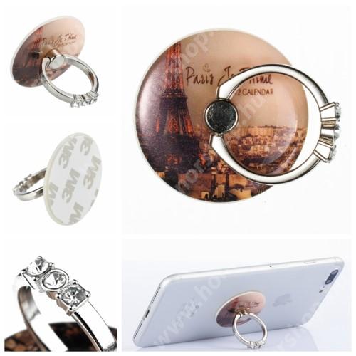 HUAWEI Honor V40 5G UNIVERZÁLIS fém ujjtámasz, gyűrű tartó - Biztos fogás készülékéhez, strasszkővel díszített - EIFFEL TORONY MINTÁS