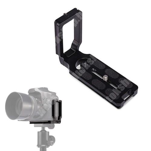 """ALCATEL A30 UNIVERZÁLIS fényképezőgép tartó fotózáshoz - állványra rögzíthető, alumínium, 360 fokban forgatható, univerzális 1/4""""-es csatlakozó - FEKETE - 110 x 38 x 75mm"""