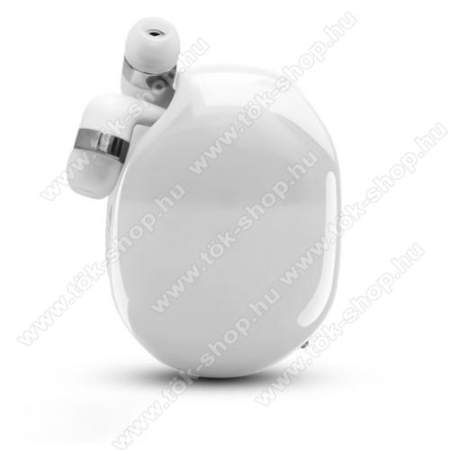 UNIVERZÁLIS fülhallgató / headset / tartó tok / kábel szervező - felcsévélhető kábel - FEHÉR