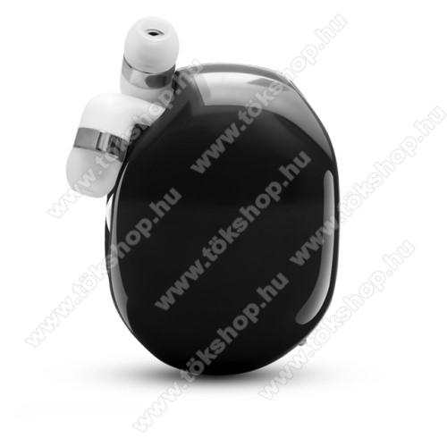 UNIVERZÁLIS fülhallgató / headset / tartó tok / kábel szervező - felcsévélhető kábel - FEKETE