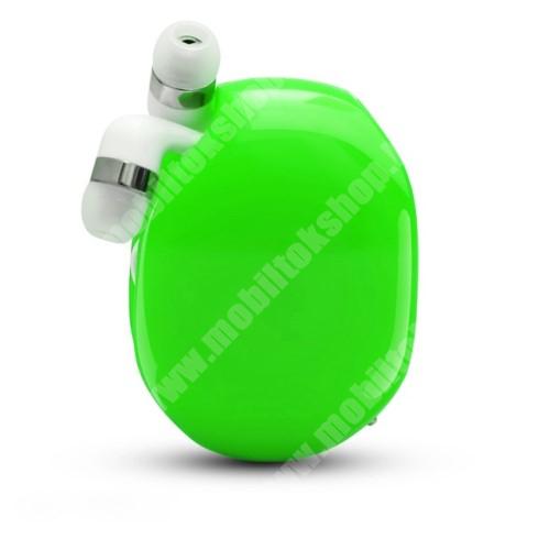 ALCATEL A30 UNIVERZÁLIS fülhallgató / headset / tartó tok / kábel szervező - felcsévélhető kábel - ZÖLD