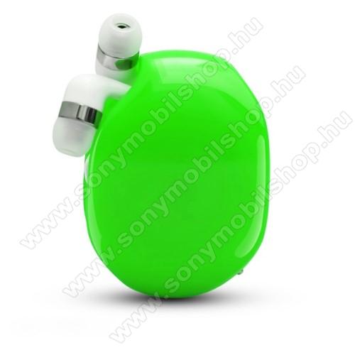 UNIVERZÁLIS fülhallgató / headset / tartó tok / kábel szervező - felcsévélhető kábel - ZÖLD