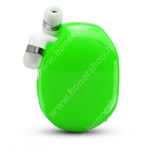 HUAWEI Honor V40 5G UNIVERZÁLIS fülhallgató / headset / tartó tok / kábel szervező - felcsévélhető kábel - ZÖLD