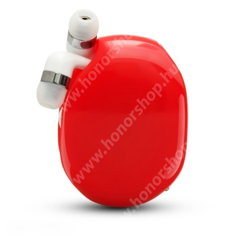 HUAWEI Honor V40 5G UNIVERZÁLIS fülhallgató / headset / tartó tok / kábel szervező - felcsévélhető kábel - PIROS