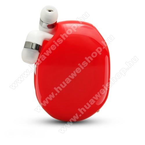 UNIVERZÁLIS fülhallgató / headset / tartó tok / kábel szervező - felcsévélhető kábel - PIROS