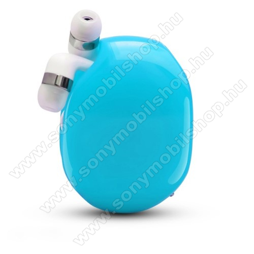 UNIVERZÁLIS fülhallgató / headset / tartó tok / kábel szervező - felcsévélhető kábel - KÉK