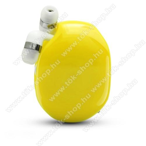 UNIVERZÁLIS fülhallgató / headset / tartó tok / kábel szervező - felcsévélhető kábel - CITROMSÁRGA