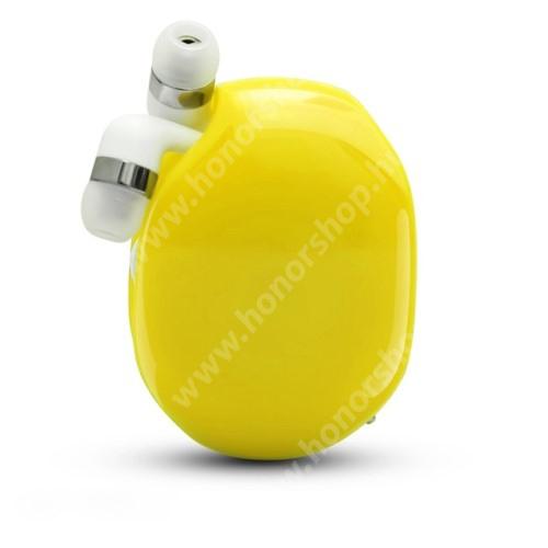 HUAWEI Honor V40 5G UNIVERZÁLIS fülhallgató / headset / tartó tok / kábel szervező - felcsévélhető kábel - CITROMSÁRGA