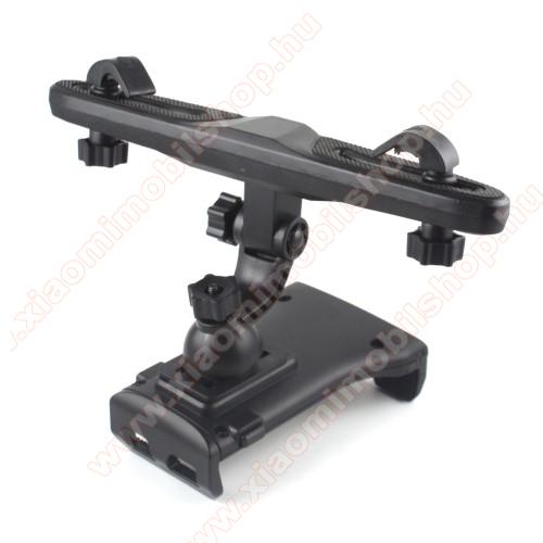 UNIVERZÁLIS gépkocsi / autós tartó - 110-220mm-ig állítható bölcső, elforgatható, fejtámlára szerelhető tartóval, 360°-ban elforgatható - FEKETE