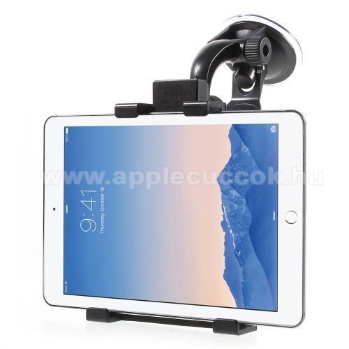 Apple iPad mini (2019)UNIVERZÁLIS gépkocsi / autós tartó - 64-140mm-ig állíthatóbölcső, elforgatható, tapadókorongos szélvédőtartóval - FEKETE