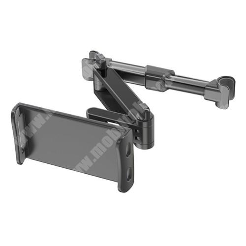 Blackphone UNIVERZÁLIS gépkocsi / autós tartó - alumínium, 120-190mm-ig nyíló bölcső, 360°-ban forgatható, fejtámlára rögzíhtető tartóval - FEKETE