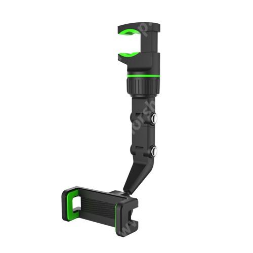 HUAWEI Honor V40 5G UNIVERZÁLIS gépkocsi / autós tartó - asztalra / visszapillantóra / fejtámla rúdra rögzíthető, 50-100mm-ig állítható bölcső, 360°-ban forgatható, dönthető, 3-21mm-ig nyíló rögíztő bilincs - FEKETE