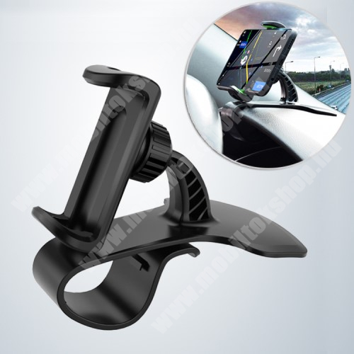 HTC Sensation UNIVERZÁLIS gépkocsi / autós tartó - FEKETE - műszerfalra rögzíthető, max.  85mm-es befogó csipesszel, 360°-ban elforgatható