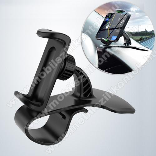 UNIVERZÁLIS gépkocsi / autós tartó - FEKETE - műszerfalra rögzíthető, max.  85mm-es befogó csipesszel, 360°-ban elforgatható